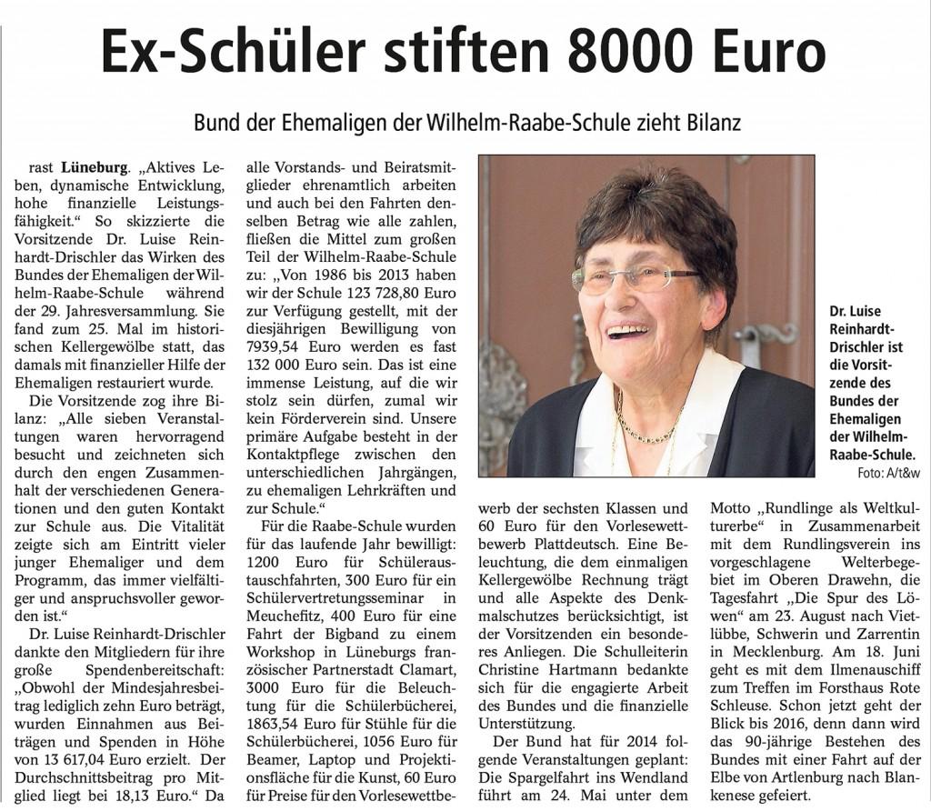 Ex-Schüler stiften 8.000 Euro
