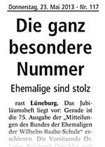 Landeszeitung vom 23.05.2013 / Die ganz besondere Nummer – 75. Mitteilungsheft des Bundes der Ehemaligen der Wilhelm-Raabe-Schule zu Lüneburg