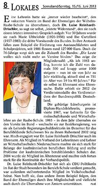 Landeszeitung vom 15./16.06.2013 / Die ganz besondere Nummer – 75. Mitteilungsheft des Bundes der Ehemaligen der Wilhelm-Raabe-Schule zu Lüneburg